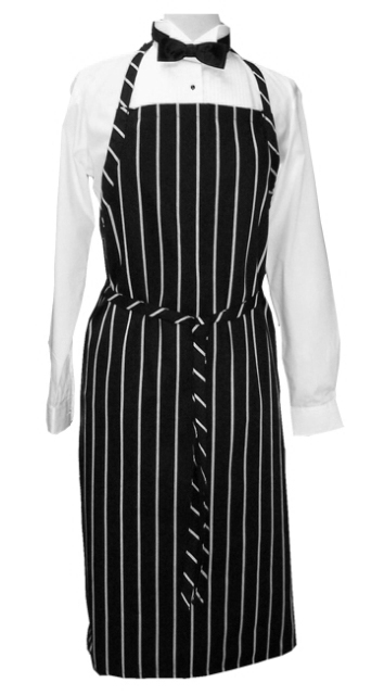 Apron Bib Black White Stripe