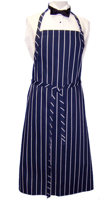Apron Bib Navy White Stripe
